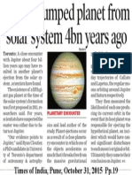 Jupiter bumped planet from solar system 4bn years ago
