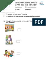 2011 Gr1 Mi First Quarter Worksheet