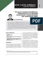 El nuevo leasing inmobiliario, limitaciones a la voluntad contractual y desprotección del contratante débil