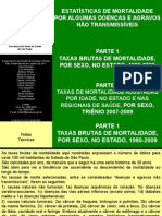 Estatisticas de Taxas Brutas de Mortalidade Por Sexo - SÃO PAULO
