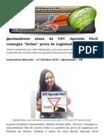 """Queimadense Aluna Da CFC Aprenda Fácil Consegue """"Fechar"""" Prova de Legislação de Trânsito"""