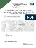 Sistema agroecológico  integral en la habilitación y rehabilitación de Personas con discapacidad  mental