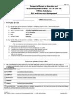 consent parent guardian acknowledgement risk ab off-site activity risk insurance management
