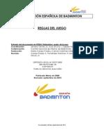 FEDERACIÓN ESPAÑOLA DE BADMINTON REGLAS DEL JUEGO