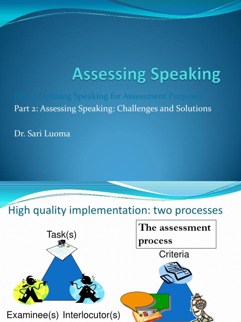 sari luoma assessing speaking games
