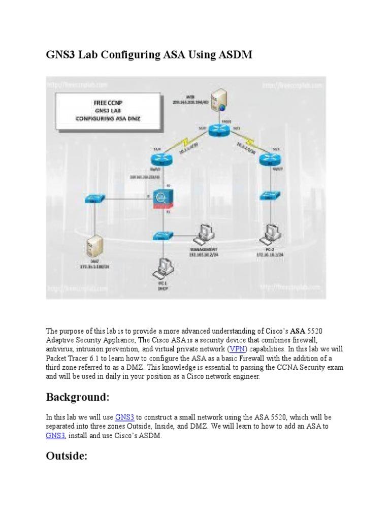 GNS3 Lab Configuring ASA Using ASDM | Virtual Private