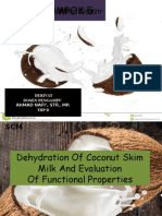 Dehydration of Coconut Skim Milk and Evaluation
