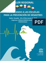 Taller Regional Movilizando a las escuelas para la prevención de desastres