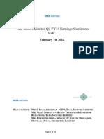 Results Concall Transcript Q3 FY14