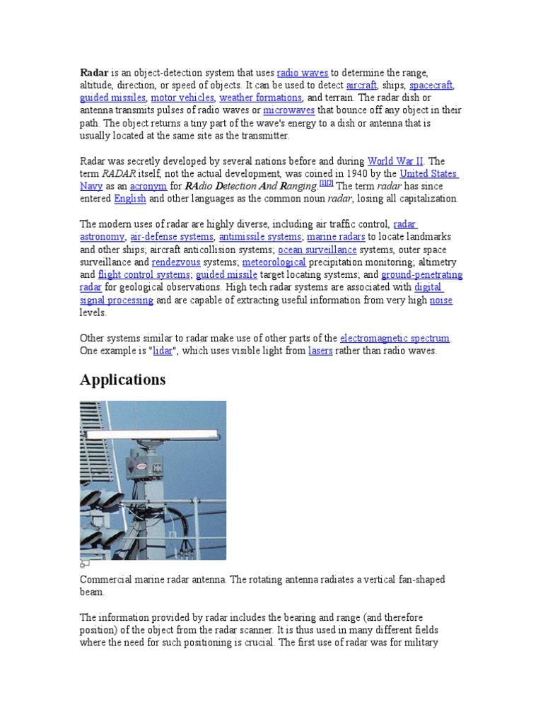 Radar | Radar | Radio