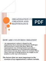 Organisationculture Creation and Maintence