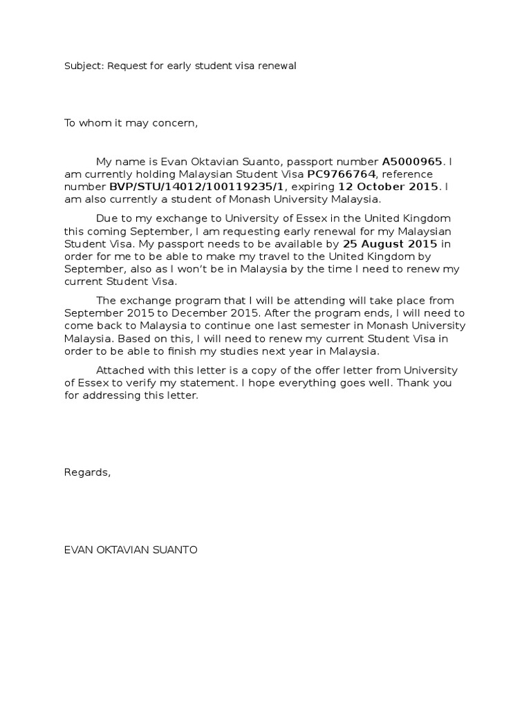 Early Visa Renewal Request Letter