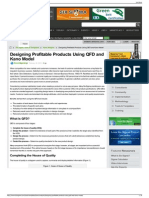 Designing Profitable Products Using QFD and Kano Model