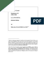 Jacqes Lacan - Seminario n 10, La Angustia