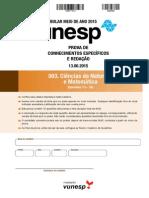 Prova de CE - Ciências Da Natureza e Matemática - 2ª Fase Unesp Meio de Ano 2015