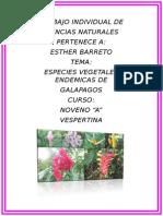 Especies Vegetales Endémicas de Galápagos