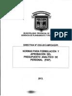 Normas Para La Elaboracion Del PAP