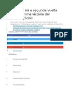 Argentina Irá a Segunda Vuelta Tras La Mínima Victoria Del Oficialista Scioli