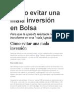 Cómo Evitar Una Mala Inversión en Bolsa (1)