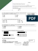 Prueba de Matematicas Fracciones 4 b 2015