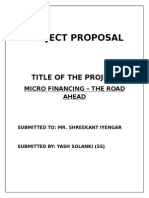 PROJECT PROPOSAL (Micro Finance) - Yash Solanki