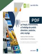 Les Français, l'environnement, et l'emballage des produits alimentaires