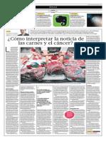 Cómo Interpretar La Noticia de Las Carnes y El Cáncer