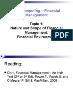 Topic 1 Financial Environment