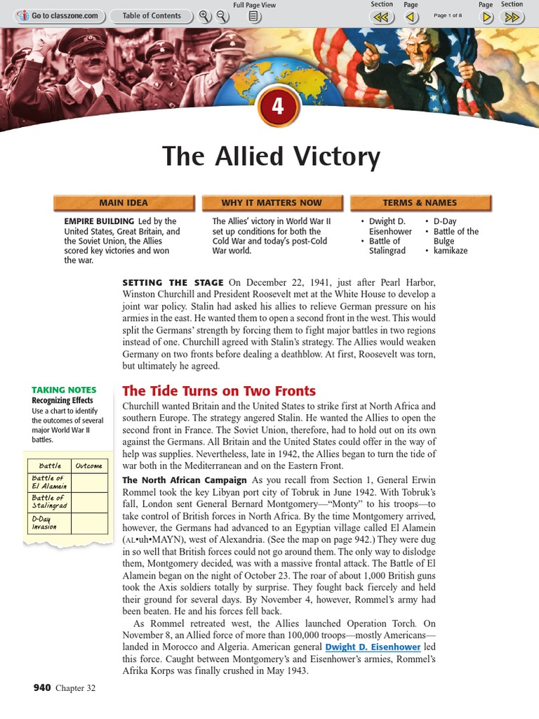 ch 32 sec 4 the allied victory pdf battle of stalingrad rh scribd com chapter 16 guided reading the allied victory answers