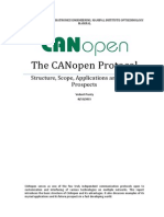 The CANOpen Protocol - Structure, Scope, Applications and Future Prospects