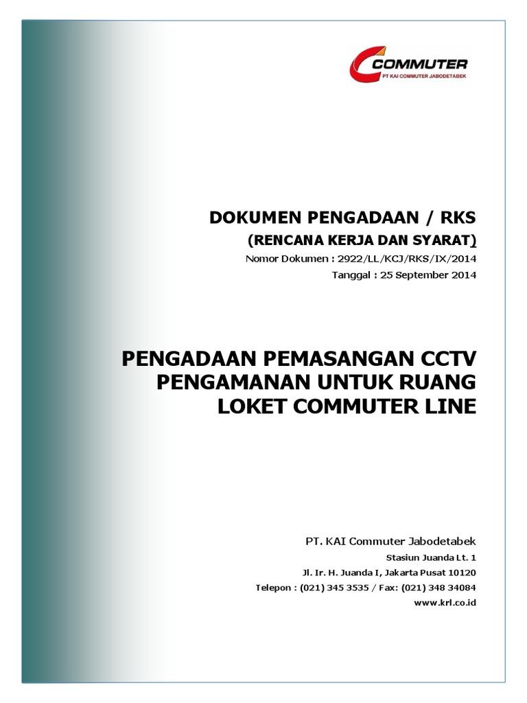 Rks Pengadaan Cctv Pengamanan Untuk Ruang Loket Commuter Line 1 Pdf