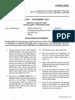 NTSE Stage 1 a P Paper 2014