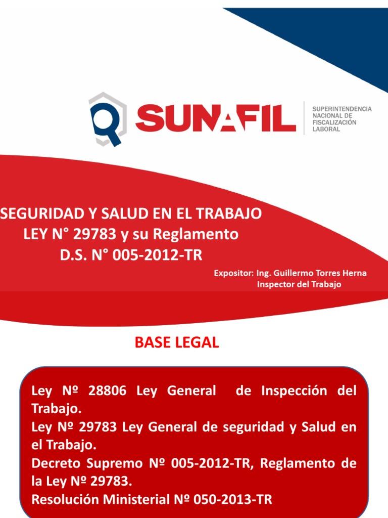 Seguridad y Salud en El Trabajo Ley Nº 29783 y Su Reglamento\