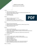 Revision Sheet Final Exam
