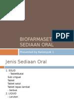Biofarmasetika Sediaan Oral