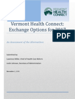 Report on VT Health Connect Exchange Options