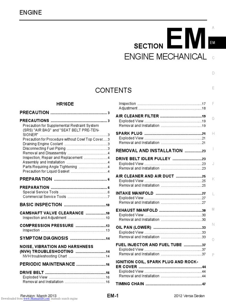 Nissan Sentra Service Manual: Periodic maintenance
