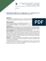 Preinforme de Práctica de Laboratorio No. 1 Determinación de Algunas Constantes Físicas de Compuestos Orgánicos