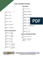 Formula Sheet Calculus-Derivatives