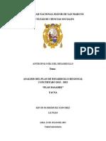 """ANALISIS DEL PLAN DE DESARROLLO REGIONAL CONCERTADO DE TACNA """"PLAN BASADRE"""""""