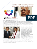 To Promote Reconciliation and Accountability, We Need to Take All Our People on This Journey – R. Sampanthan