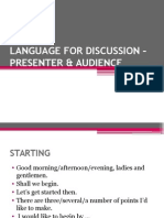 Language for Discussion – Presenter & Audience