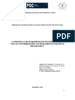 """""""A Presença de Durkheim Em Oliveira Vianna - Novas Contribuições Ao Pensamento Político Brasileiro""""."""