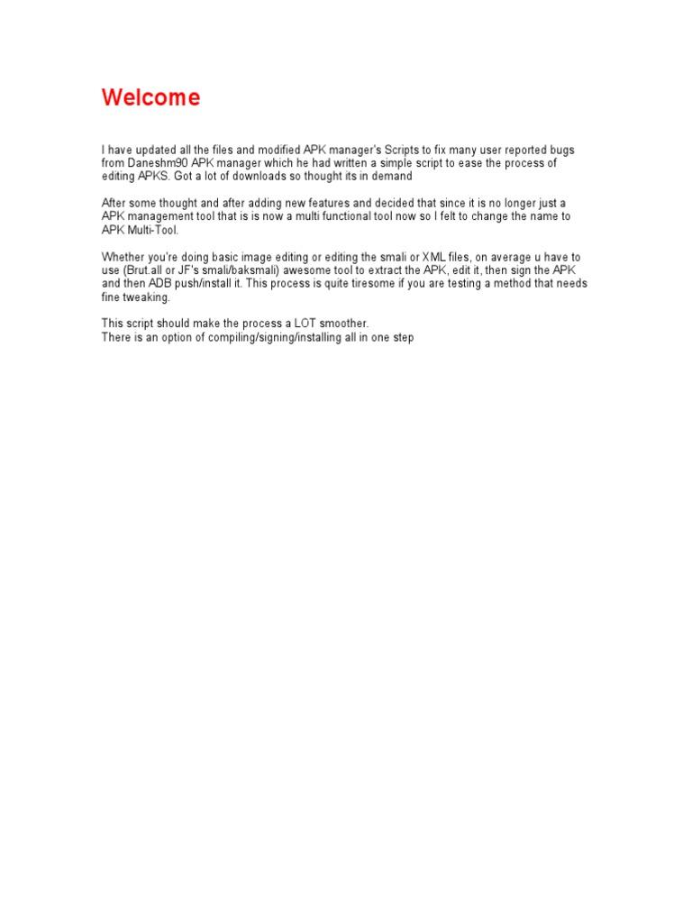 Manuel apk tool | Microsoft Windows | Command Line Interface