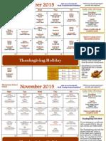 November Elementary School Calendar
