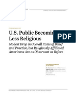U.S. Public Becoming Less Religious