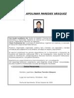 Curriculum Dr. Apolinar Paredes Vasquez 2014