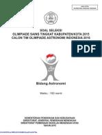 Soal Osn Astronomi Tingkat Kabupaten Kota Tahun 2015