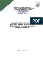 Proyecto de La Música como instrumento de aprendizaje 2015