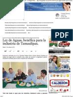 31-10-15 Ley de Aguas, Benéfica Para La Industria de Tamaulipas